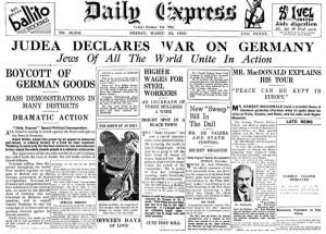 Juutalaiset julistivat sodan Saksaa vastaan useita vuosia ennen toista maailmansotaa.