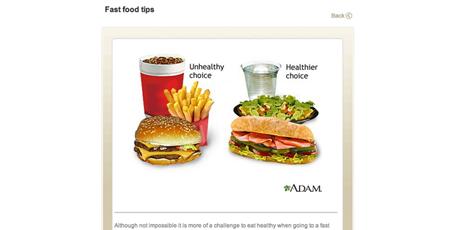 Kuva McDonald'sin kotisivuilta, joilla työntekijöitä kehotetaan valitsemaan terveellisempi vaihtoehto oikealta puolelta.