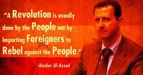 """""""Tavallisesti kansa tekee vallankumouksen, eivätkä kansaa vastaan kapinoivat ulkomaalaiset."""" – Bashar al-Assad."""