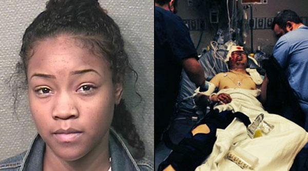 20-vuotiasta Denitra Greeniä syytetään törkeästä ryöstöstä, jonka seurauksena uhri on edelleen sairaalahoidossa.