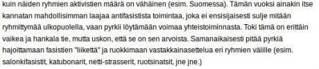 Äärivasemmistolaiset keskustelevat Internet-strategiasta. Kuvakaappaus suomalaisilta anarkistisivuilta.