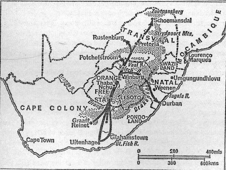 Buurit vaelsivat sisämaahan, johon myöhemmin muodostui kaksi buurivaltiota.