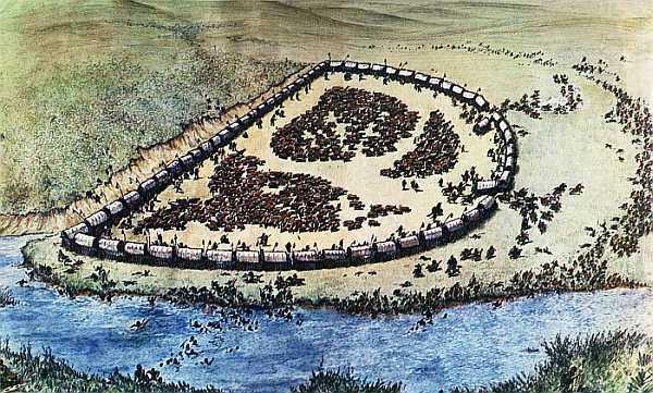 Taiteilijan näkemys Blood Riverin taistelusta.