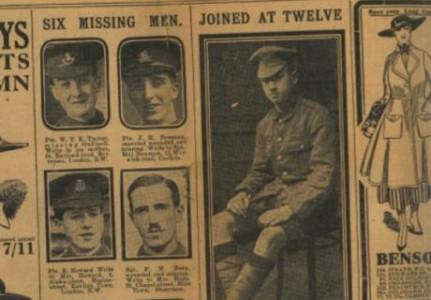 Lehtijuttu Sidney Lewisista. Poika kotiutettiin, kun tämän äiti esitti sotaministeriölle poikansa syntymätodistuksen vuonna 1916.