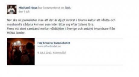 Facebook-kommentti, josta Michael Hess tuomittiin. (Fria Tider)