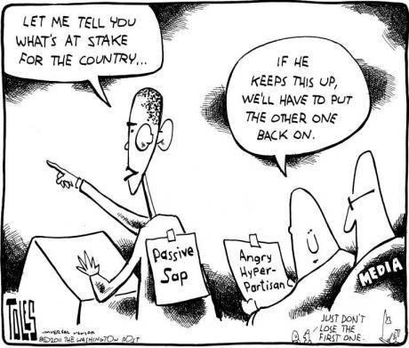 The Washington Postin pilapiirtäjän näkemys presidentti Barack Obamasta.