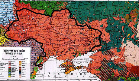 Kartta Ukrainan geopolitiikasta.