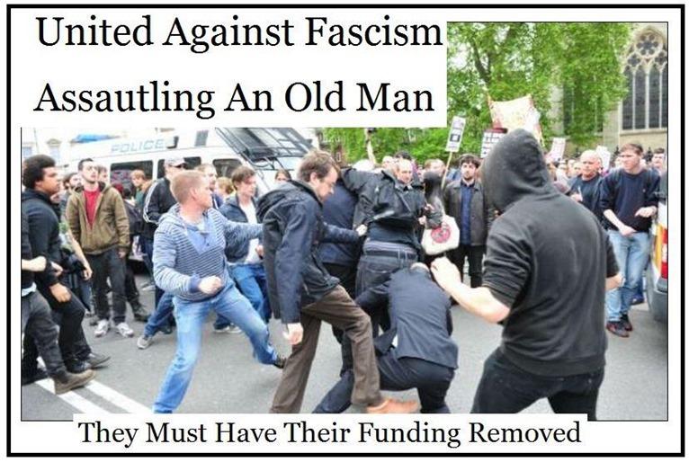 Antifasistit pahoinpitelevät vanhan miehen ilman mitään syytä. Englannin valtio ei kuitenkaan välitä tällaisista tapauksista, vaan jatkaa UAF:n rahoittamista.
