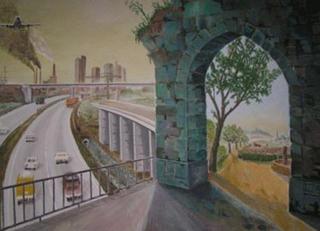 Roederin maalaus menneestä ja nykyisestä Saksasta.