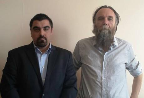 Vasemmalla Artemis Mattheopoulos ja oikealla Moskovan yliopiston professori Alexander Dugin.