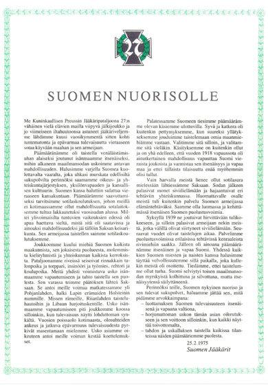 Jääkärien testamentti Suomen nuorisolle.