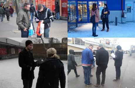 Aktivisteja keräämässä nimiä listaan joka puolella Ruotsia.