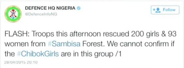 Nigerian armeijan twiittaus pelastusoperaatiosta.