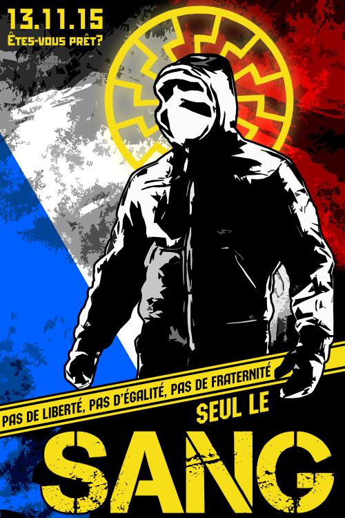 """Ranskalaista nationalistipropagandaa: """"Ei vapautta, ei tasa-arvoa, ei veljeyttä – vain verta"""""""
