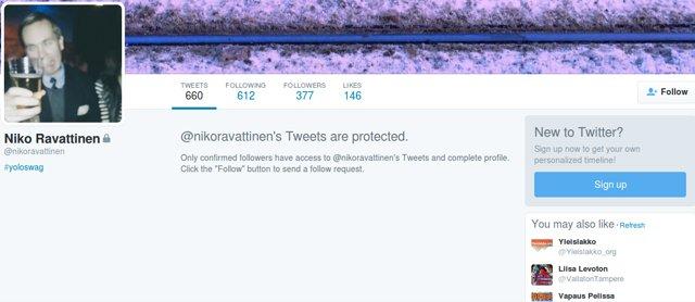 Ravattinen muutti Twitter-tilinsä salaiseksi ennen kuin poisti sen kokonaan.