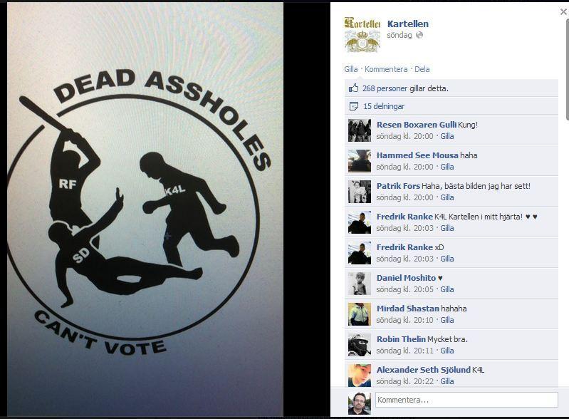 """""""Kuolleet kusipäät eivät äänestä!"""" RF:n propagandaa Ruotsidemokraattien äänestäjiä vastaan."""