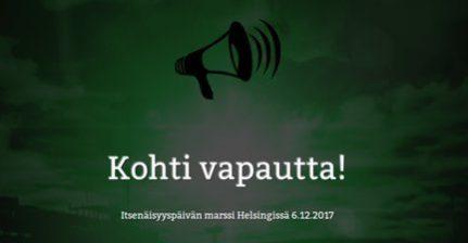 Helsingissä marssitaan Kohti vapautta itsenäisyyspäivänä!