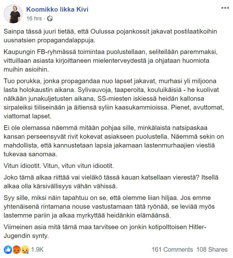 Koomikko Iikka Kivi avautuu Facebookissa